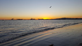 Long Beach bei Sonnenuntergang Stockbild