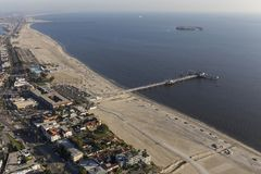 Long Beach Belmont Pier California Coast Aerial Stock Foto