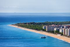 Long Beach in Blanes Town On Costa Brava Royalty Free Stock Photography