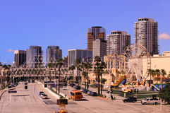 Long Beach CA. Shoreline Drive with downtown Long Beach office buildings in the background stock images