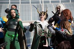 Long Beach Comic Expo Group Cosplayers 4. Long Beach, CA - Feb 17: Cosplayers posing outside the Convention Center at the Long Beach Comic Expo on Feb 17, 2018 stock photography