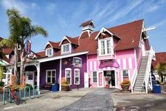 Free LONG BEACH, CALIFORNIA - 06 MAR 2020: Ice Cream Shop And The Village Hats At Shoreline Village, Rainbow Harbor Stock Images - 174883154