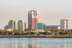 Long Beach Downtown Cityscape at Dawn Royalty Free Stock Photos