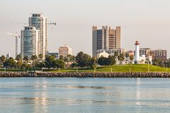 Shoreline Aquatic Park and Rainbow Harbor Lighthouse in Long Beach Stock Images