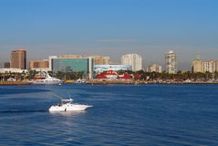Long Beach California Skyline. Boat cruising in Long Beach Harbor with Long Beach skyline in the background Stock Image