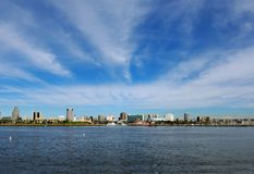 Long Beach, California Skyline. In January Royalty Free Stock Image