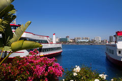 Long Beach California skyline from flowers port Royalty Free Stock Image