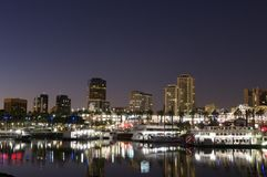 Long Beach city at night Royalty Free Stock Images