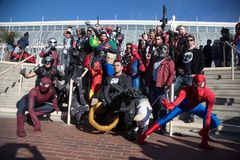 Long Beach Comic Expo Group Cosplayers 7. Long Beach, CA - Feb 17: Cosplayers posing outside the Convention Center at the Long Beach Comic Expo on Feb 17, 2018 royalty free stock image