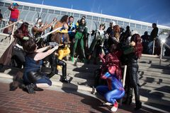 Long Beach Comic Expo Group Cosplayers 3. Long Beach, CA - Feb 17: Cosplayers posing outside the Convention Center at the Long Beach Comic Expo on Feb 17, 2018 royalty free stock images