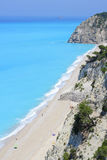 Long beach of Egremni on the island of Lefkada. In Greece Royalty Free Stock Photography