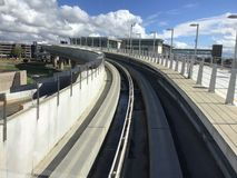 Long Beach -Flughafen an den Shuttlebahnen stockfoto
