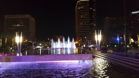Long Beach fountain. Performing Arts center fountain in the nigth Stock Images