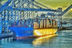 Long Beach -Hafen bei Sonnenaufgang lizenzfreie stockfotografie
