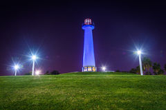 Long Beach Harbor Lighthouse at night, in Long Beach  Stock Images