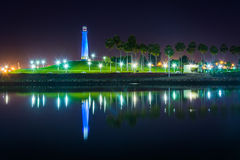 Long Beach Harbor Lighthouse reflecting at night. Long Beach Harbor Lighthouse reflecting at night, in Long Beach, California Stock Image