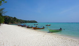 Long beach on ko phi phi island. Amazing long beach on ko phi phi island Stock Images
