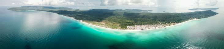 Long beach on Koh Rong, Cambodia. Panorama of Long beach on Koh Rong island, Cambodia Stock Photography