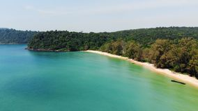 Long Beach on Koh Rong island in Cambodia, South-East Asia. top view, aerial view of beautiful tropical island stock video footage