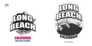 Long Beach, la Californie, deux illustrations de logo illustration de vecteur