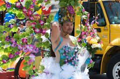Long Beach Lesbian and Gay Pride. Man with floral costume during the Long Beach Lesbian and Gay Pride Parade Royalty Free Stock Images