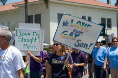 Long Beach Lesbian and Gay Pride Parade 2012. People demonstrating their support to their gay and lesbian family members during the 2012 Long Beach Lesbian and Stock Photos