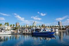 Long Beach Marina and city skyline, California. Royalty Free Stock Images