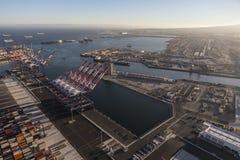 Long Beach och Los Angeles hamnar arkivfoton