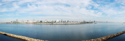 Long Beach panorama. From Queen Mary in California Stock Photos