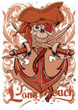 Long Beach. Pirate skull hanging on ship anchor vector format Stock Photo