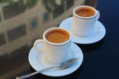 Two cups of coffee. Long Beach Resort&Spa Hotel, Alanya, Turkey. Two cups of coffee Stock Photos