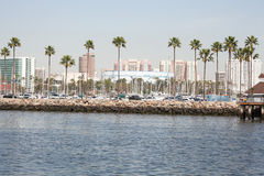 Long beach shoreline with cityscape in the background. Stock Photos