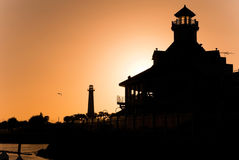 Long Beach Sunset. A sunset silhouette view of the Long Beach California lighthouse Stock Photography