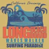 Long Beach surfing t-shirt  graphic design Stock Photo