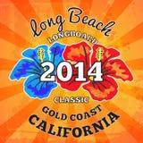Long Beach surfing, vector artwork Royalty Free Stock Photo