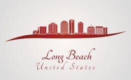 Long Beach V2 horisont i rött royaltyfri illustrationer