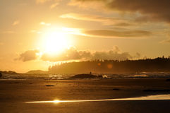 Long Beach on Vancouver Island. With a Sunset reflection and islands Stock Photography