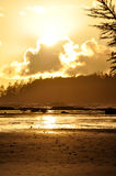 Long Beach on Vancouver Island. With a Sunset reflection and islands Royalty Free Stock Image