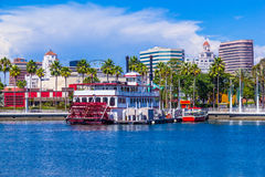 Long Beach waterfront with skyline and harbor, CA  (P) Royalty Free Stock Photography