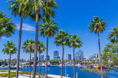 Long Beach waterfront with skyline and harbor, CA  (P) Royalty Free Stock Photos