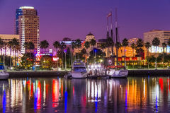Long Beach waterfront with skyline and harbor at night, CA  (P) Stock Images
