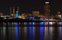 Long Beach Waterfront skyline at Night. A nighttime view of the waterfront skyline of Long Beach, California stock images