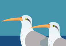 Long beaked birds. An illustration of two tropical long beaked birds Royalty Free Stock Images