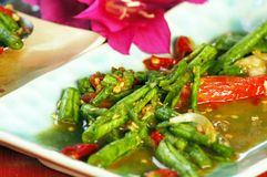 Long Bean (Tua Fak Yaow) salad Stock Photo