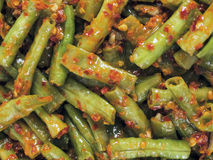 Long beans in chili shrimp paste Royalty Free Stock Images