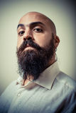 Long beard and mustache man with white shirt Stock Photo