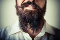 Long beard and mustache man with white shirt Stock Images