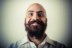 Long beard and mustache man with white shirt Royalty Free Stock Image