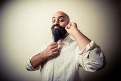 Long beard and mustache man with white shirt Royalty Free Stock Photos