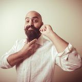 Long beard and mustache man with white shirt Stock Photos